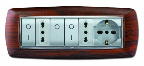 serie civile elettrocanali my life legno scuro 7 moduli